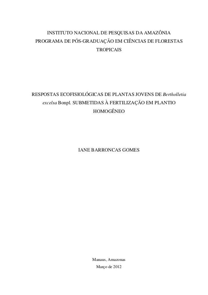 INSTITUTO NACIONAL DE PESQUISAS DA AMAZÔNIA PROGRAMA DE PÓS-GRADUAÇÃO EM CIÊNCIAS DE FLORESTAS                        TROP...