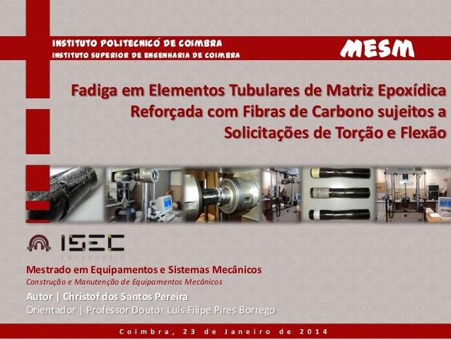 Mesm  instituto politecnico de coimbra instituto superior de engenharia de coimbra  Fadiga em Elementos Tubulares de Matri...