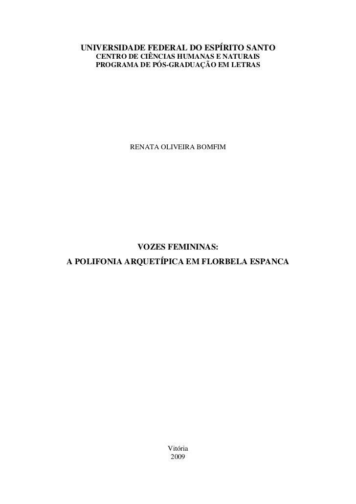 UNIVERSIDADE FEDERAL DO ESPÍRITO SANTO     CENTRO DE CIÊNCIAS HUMANAS E NATURAIS     PROGRAMA DE PÓS-GRADUAÇÃO EM LETRAS  ...