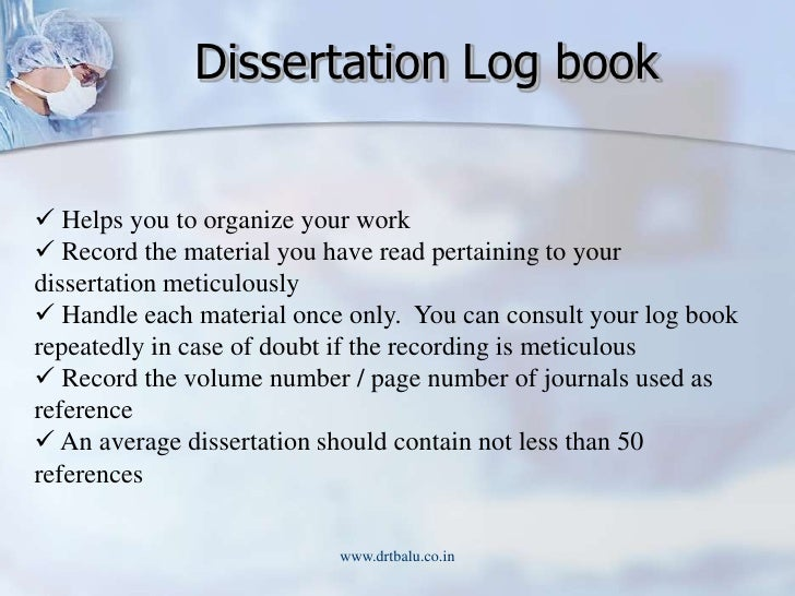 dissertation logbook example