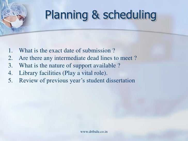 dissertation time plan