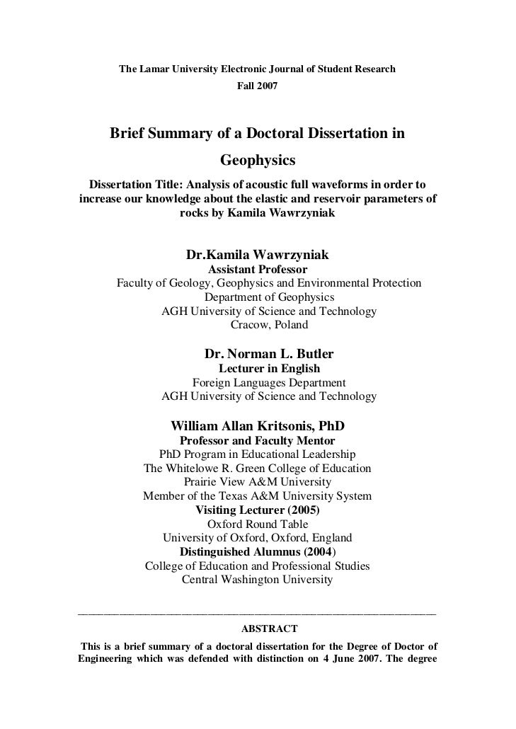 The Lamar University Electronic Journal of Student Research                                   Fall 2007          Brief Sum...