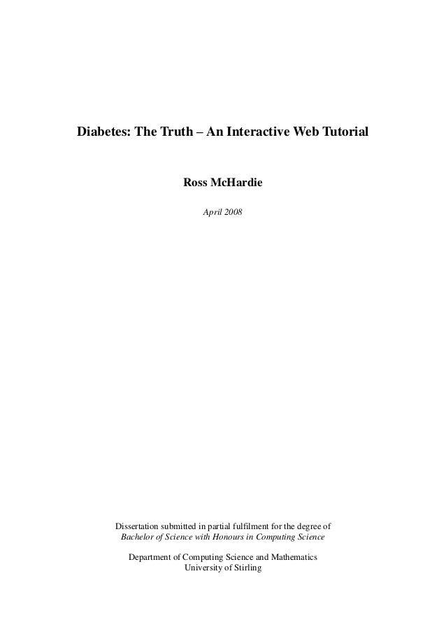Diabetes: The Truth – An Interactive Web Tutorial                         Ross McHardie                               Apri...