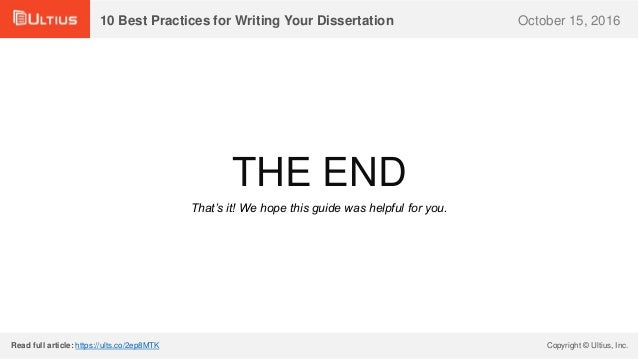 Best dissertation writing in practices