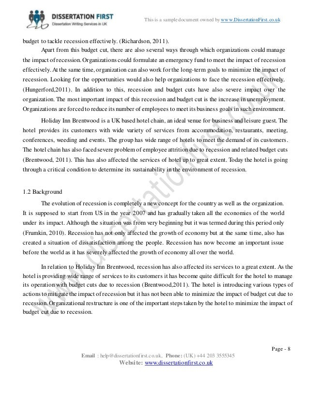 dissertation concerning usa recession