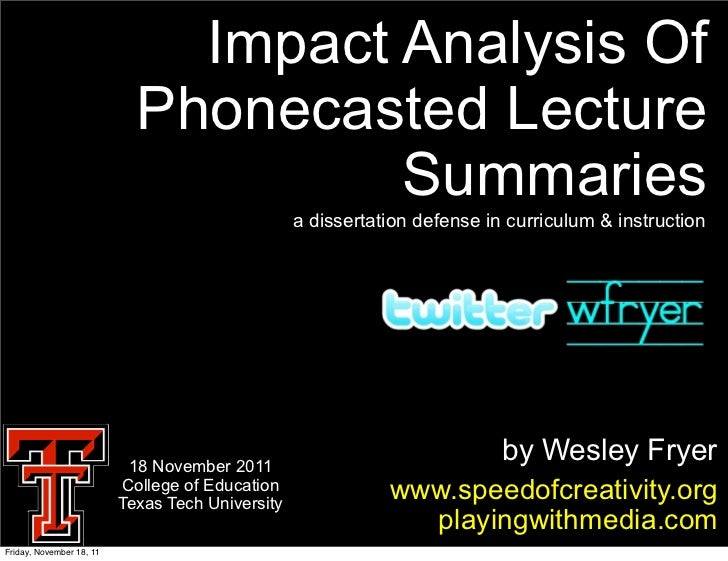 Impact Analysis Of                            Phonecasted Lecture                                     Summaries           ...