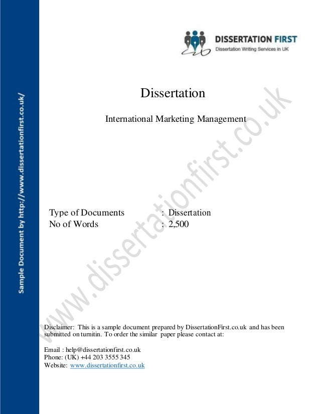 Dissertation reports in marketing