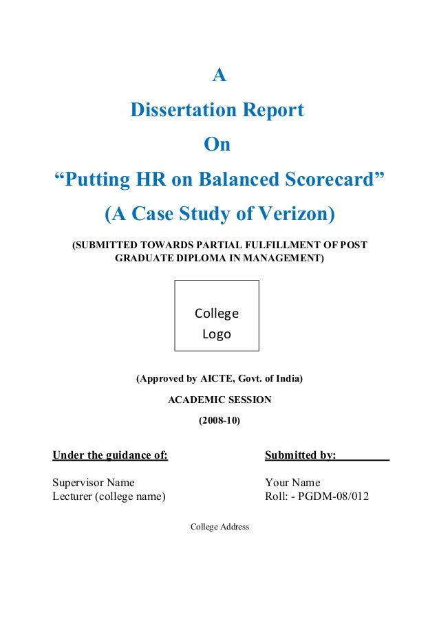 "dissertation report on putting hr on balanced scorecard a case study  a dissertation report on ""putting hr on balanced scorecard"" a case study of"