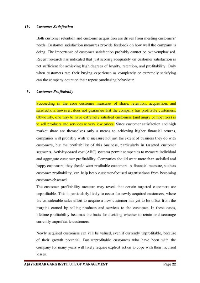 Dissertation on customer service retention