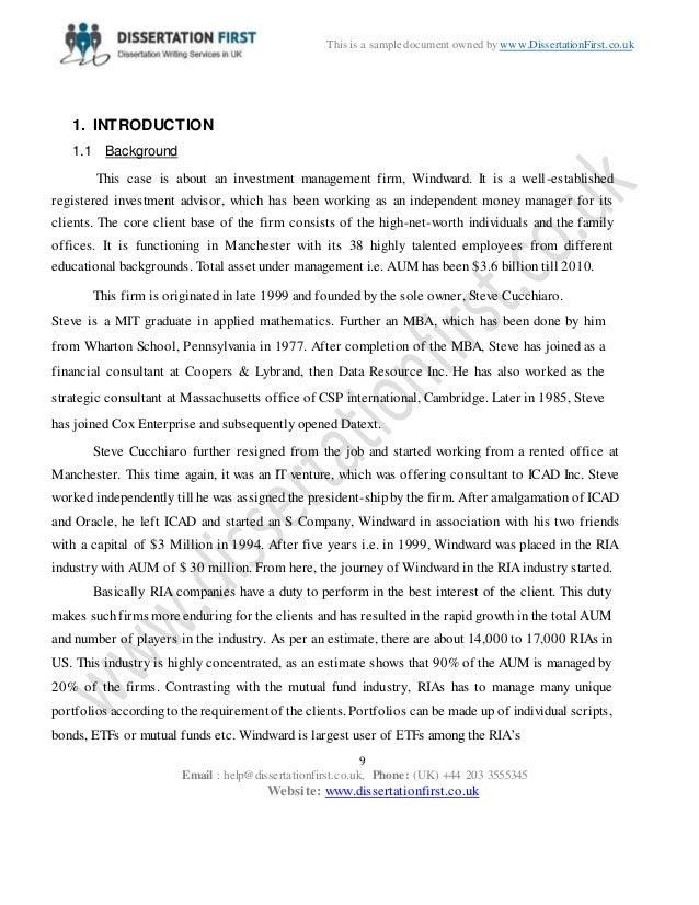 Dissertation Windward Investment Management Case Analysis Sample