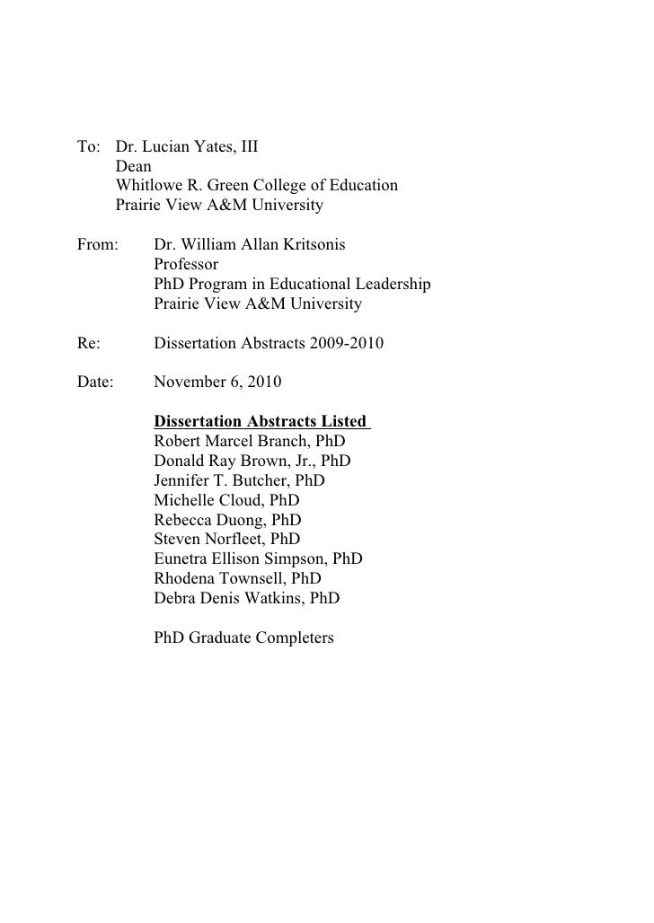 To: Dr. Lucian Yates, III    Dean    Whitlowe R. Green College of Education    Prairie View A&M UniversityFrom:     Dr. Wi...