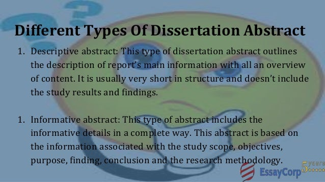 purpose of a dissertation abstract The heart of a dissertation  a concise problem statement that is the purpose of this presentation l this is an iterative process and will likely take.