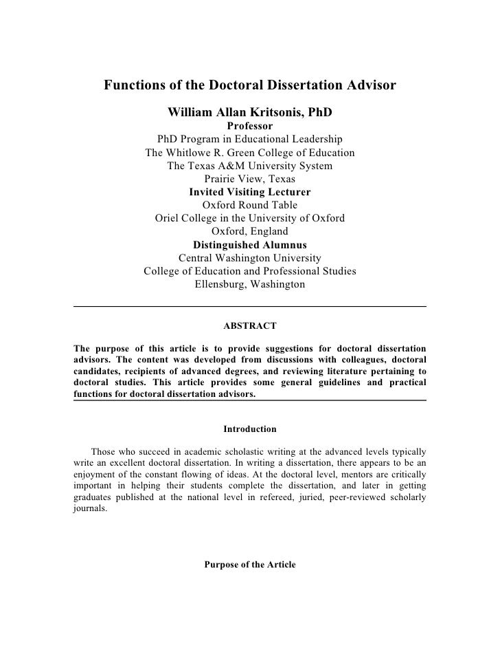 Functions of the Doctoral Dissertation Advisor                        William Allan Kritsonis, PhD                        ...