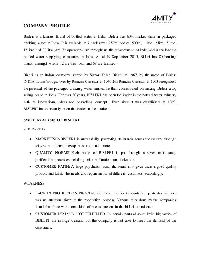 bisleri company profile Bisleri water, karimnagar, india 725 likes food & beverage company.