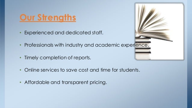 • Experienced and dedicated staff. • Professionals with industry and academic experience. • Timely completion of reports. ...