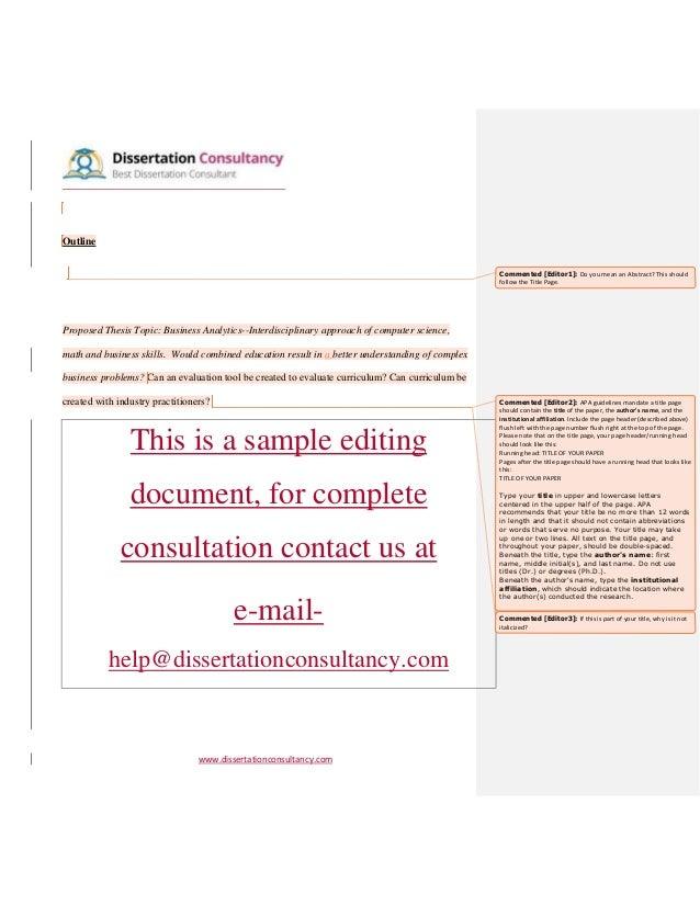 Dissertation consultation