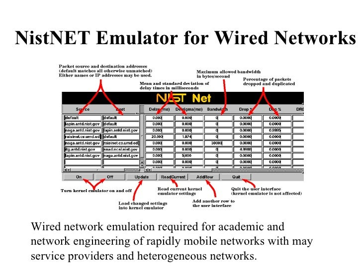 NistNET Emulator for Wired Networks Wired network emulation required for academic and network engineering of rapidly mobil...
