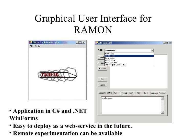 Graphical User Interface for RAMON <ul><li>Application in C# and .NET </li></ul><ul><li>WinForms </li></ul><ul><li>Easy to...