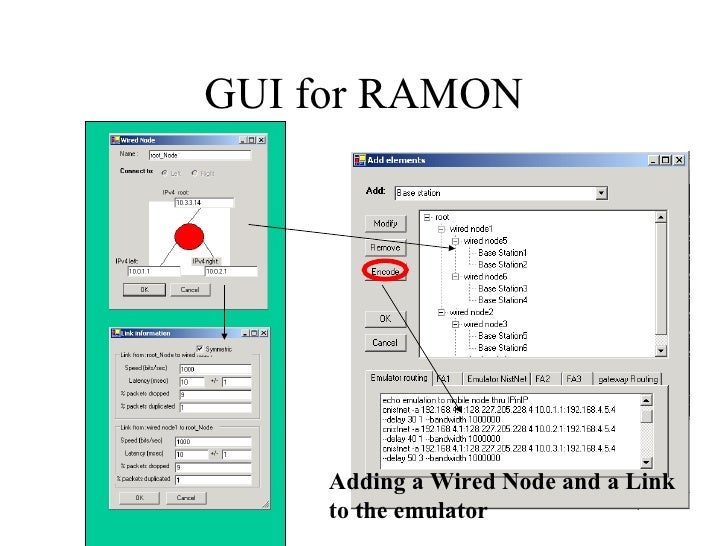 GUI for RAMON Adding a Wired Node and a Link  to the emulator