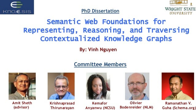 Semantic Web Foundations for Representing, Reasoning, and Traversing Contextualized Knowledge Graphs By: Vinh Nguyen Commi...