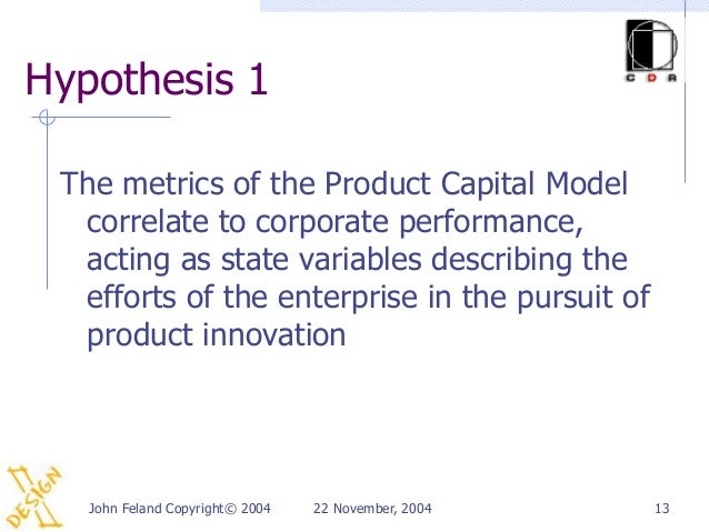 Hypothesis 1 The metrics of the Product Capital Model  correlate to corporate performance,  acting as state variables desc...