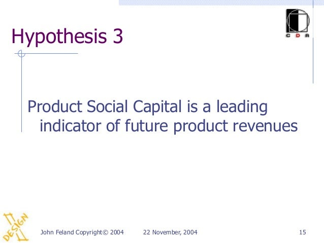 Hypothesis 3 Product Social Capital is a leading   indicator of future product revenues   John Feland Copyright© 2004   22...