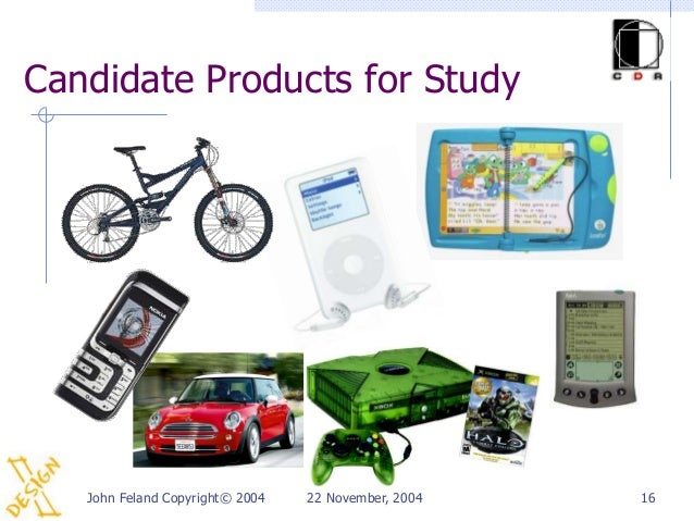 Candidate Products for Study   John Feland Copyright© 2004   22 November, 2004   16