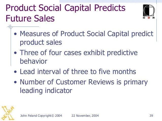 Product Social Capital PredictsFuture Sales  • Measures of Product Social Capital predict    product sales  • Three of fou...