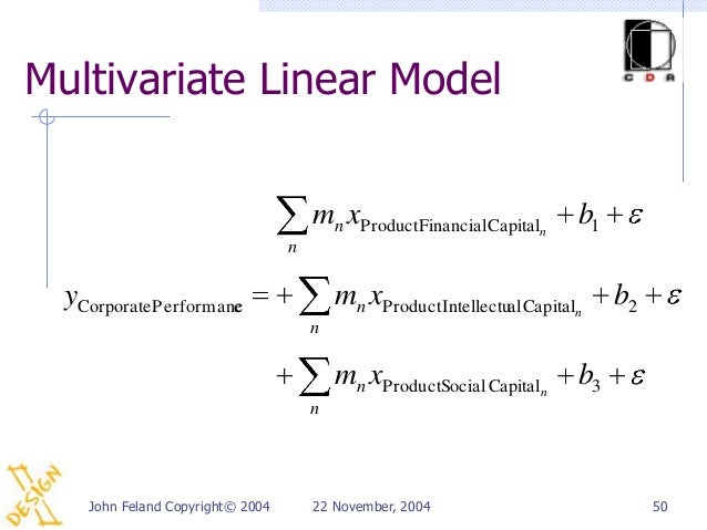 Multivariate Linear Model                                      mn xProductFinancialCapitaln       b1                      ...