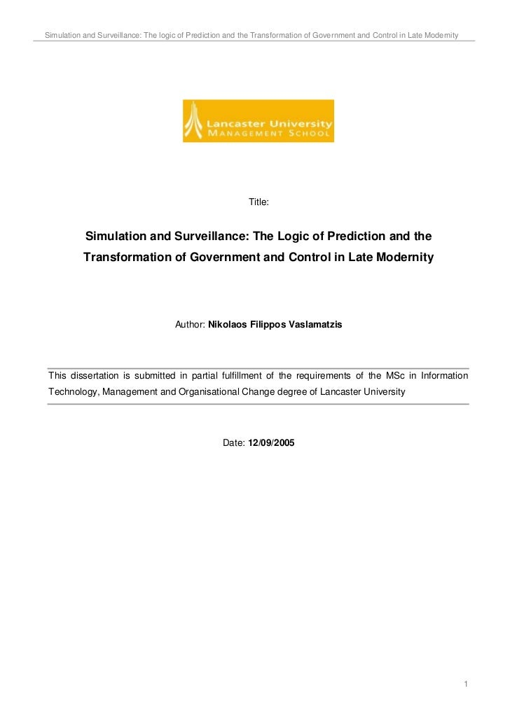 Simulation and Surveillance: The logic of Prediction and the Transformation of Government and Control in Late Modernity   ...