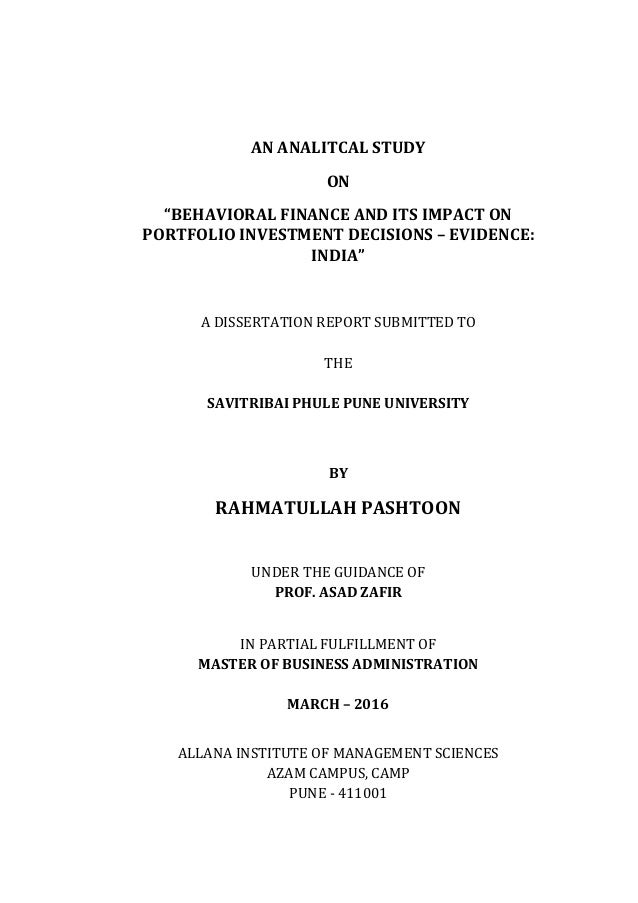 behavioral finance master thesis