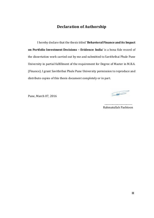 Statement of authorship master thesis