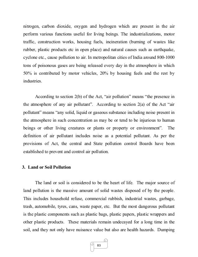 dissertation on environmental pollution and global warming  various gases such as 28