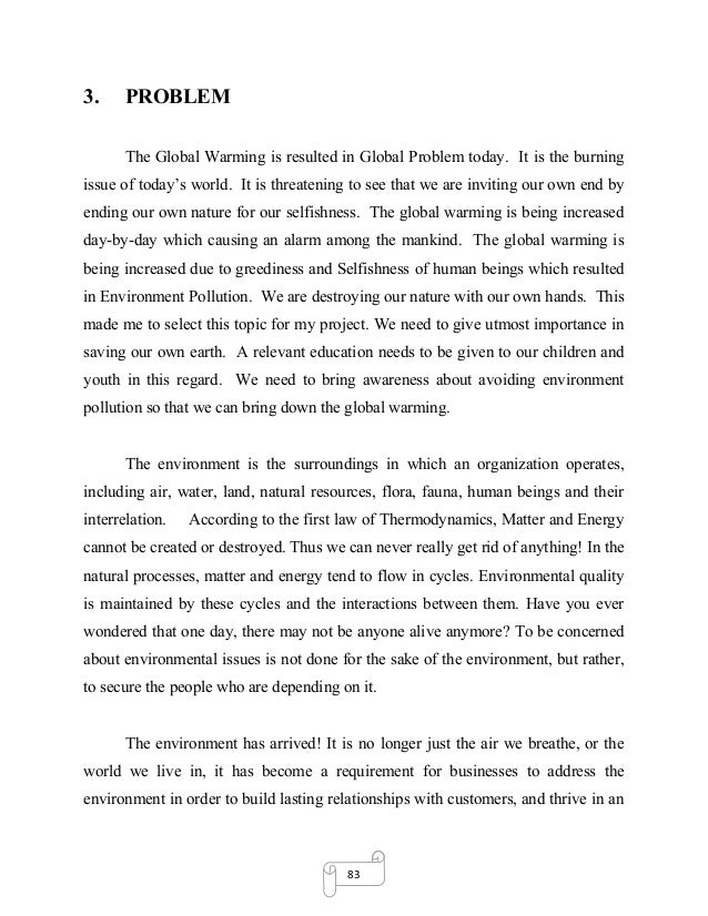Short report writing on global warming