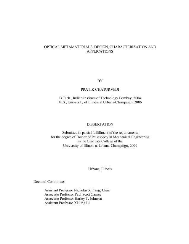 OPTICAL METAMATERIALS: DESIGN, CHARACTERIZATION AND  APPLICATIONS  BY  PRATIK CHATURVEDI  B.Tech., Indian Institute of Tec...