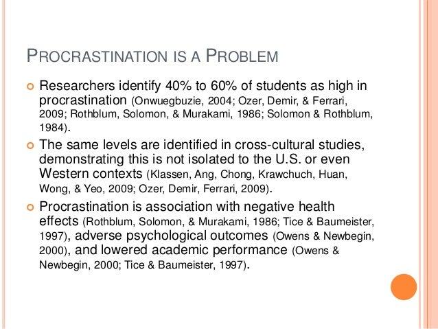 academic procrastination and academic achievement Procrastination, academic success and the effectiveness of a remedial program  maria de paola  university of calabria  and iza.