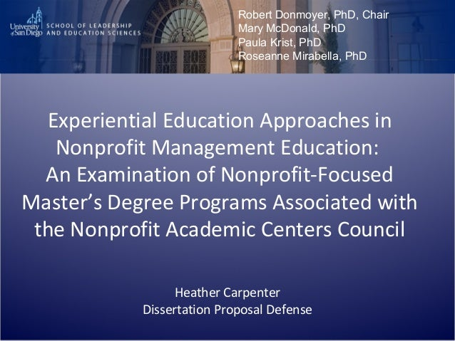 Experiential Education Approaches in Nonprofit Management Education: An Examination of Nonprofit-Focused Master's Degree P...