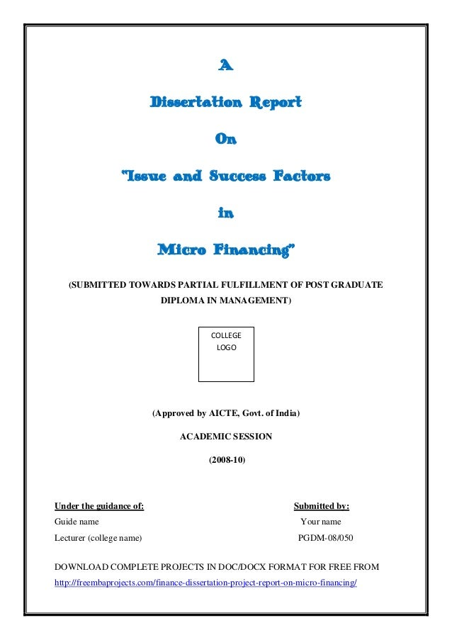 Dissertation report for mba