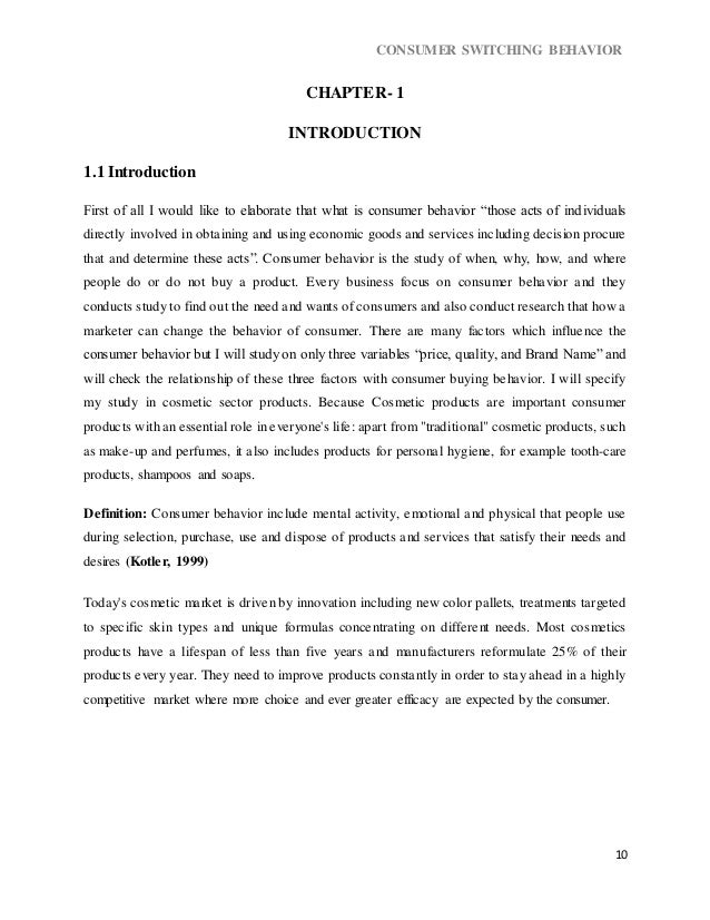 Dissertation report on consumer behaviour