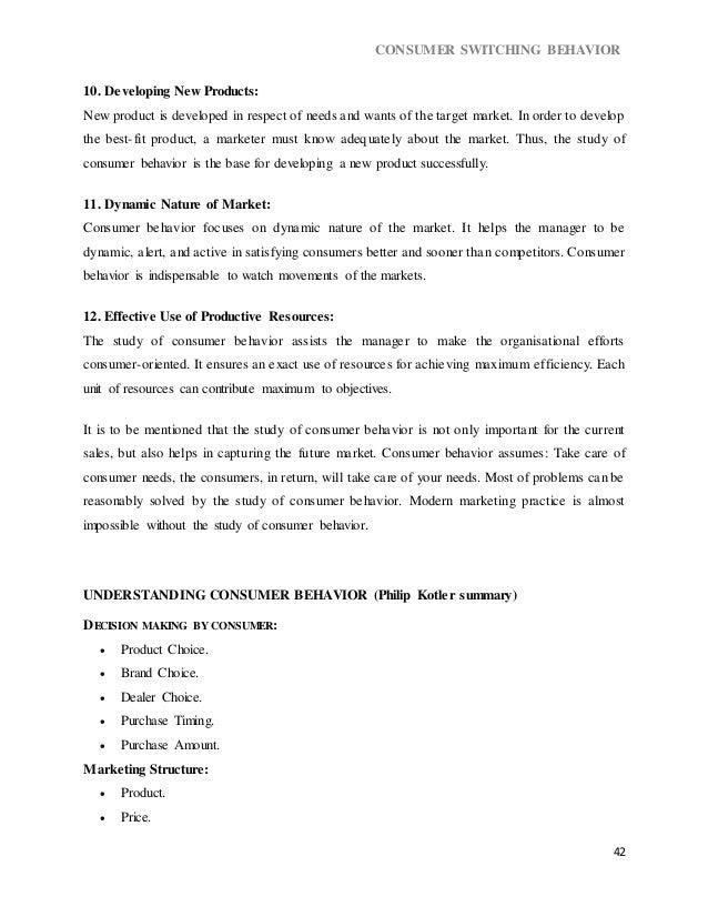 Dissertation Report On Switching Behavior Of Consumer