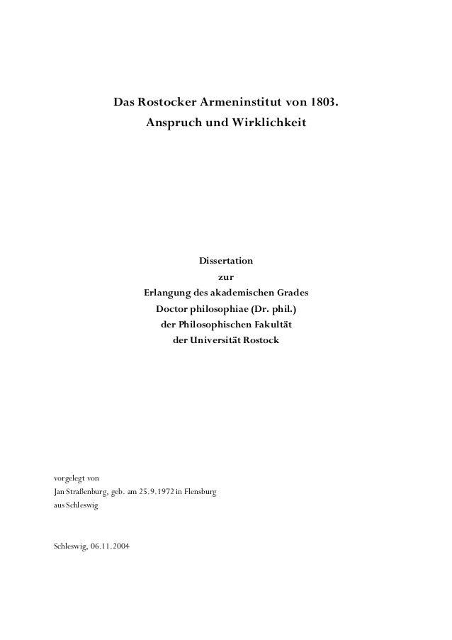 Das Rostocker Armeninstitut von 1803.                      Anspruch und Wirklichkeit                                      ...