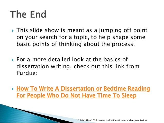  This slide show is meant as a jumping off point on your search for a topic, to help shape some basic points of thinking ...