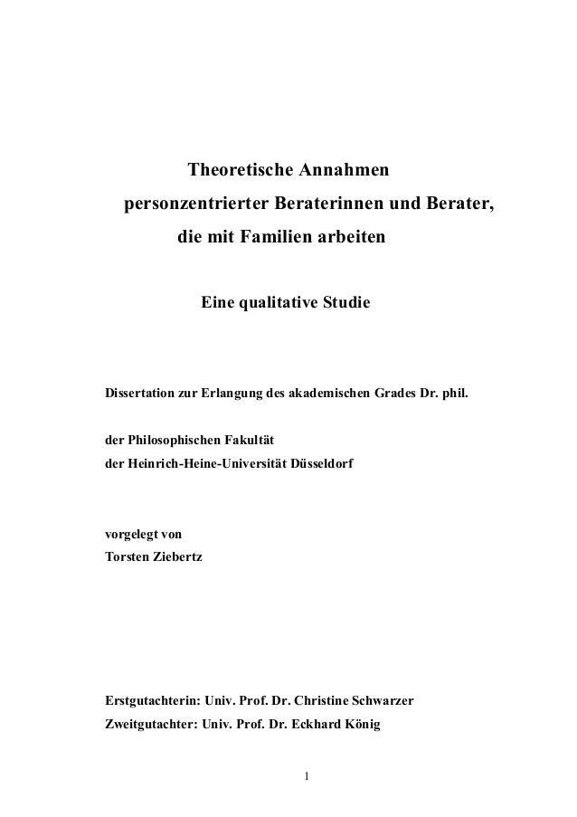 1 Theoretische Annahmen personzentrierter Beraterinnen und Berater, die mit Familien arbeiten Eine qualitative Studie Diss...