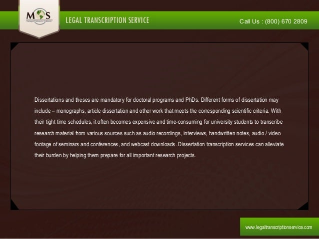 Dissertation statistical services transcription