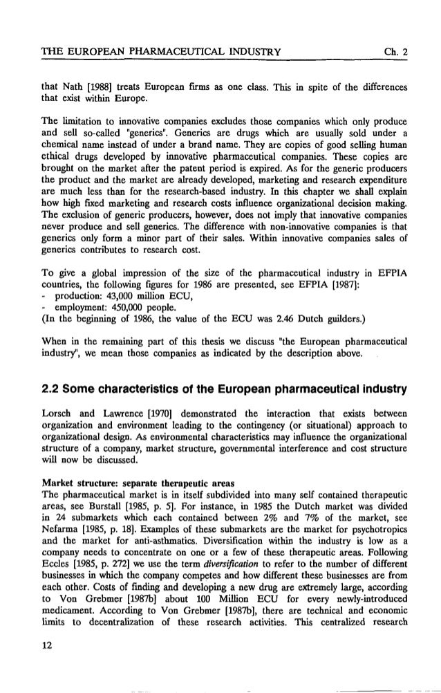 Company industry pharmaceutical phd thesis