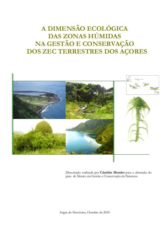 A DIMENSÃO ECOLÓGICA DAS ZONAS HÚMIDAS NA GESTÃO E CONSERVAÇÃO DOS ZEC TERRESTRES DOS AÇORES Dissertação realizada por Cân...