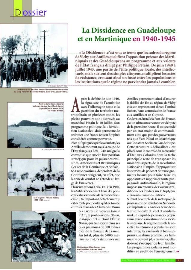 La dissidence en Guadeloupe et en Martinique en 1940-1945