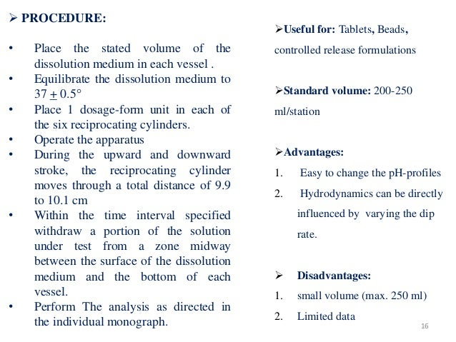  PROCEDURE: • Place the stated volume of the dissolution medium in each vessel . • Equilibrate the dissolution medium to ...