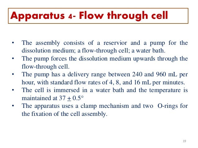 • The assembly consists of a reservior and a pump for the dissolution medium; a flow-through cell; a water bath. • The pum...