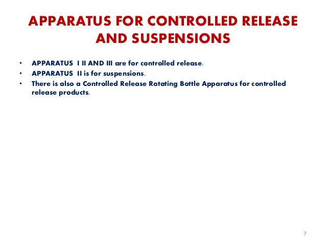 APPARATUS FOR CONTROLLED RELEASE AND SUSPENSIONS • APPARATUS I II AND III are for controlled release. • APPARATUS II is fo...